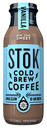 SToK Cold-Brew Iced Coffee, Vanilla, 13.7 Ounce Bottle, 10-Hour Brew Cold-Brew Arabica-Based Coffee, Vanilla-Flavored Ready-to-Drink Coffee to Pour over Ice or Drink Hot