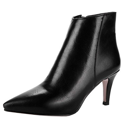 TAOFFEN Women's Ball Boots With Zipper 1530Black NYVqyE