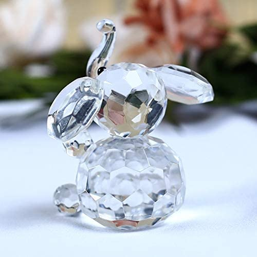DeemoShop 1 Piece Cute Elephant Crystal Figurines Miniatures Glass Cartoon Animal Crafts Paperweight Ornaments Kids Gifts Home Decor