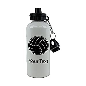 CustomGiftsNow Personalized Custom Volleyball White Sport Aluminum Water Bottle with Black Lid, [20 oz/600 ml]