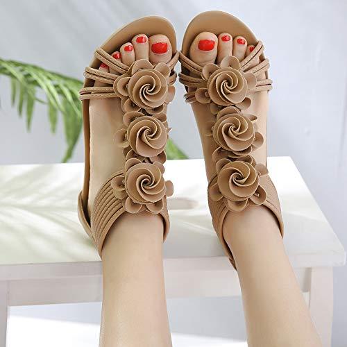 Verano Mujer Bohemio DolphinBanana diseño Sandalias con de para Caqui Floral YqYB8SEwx