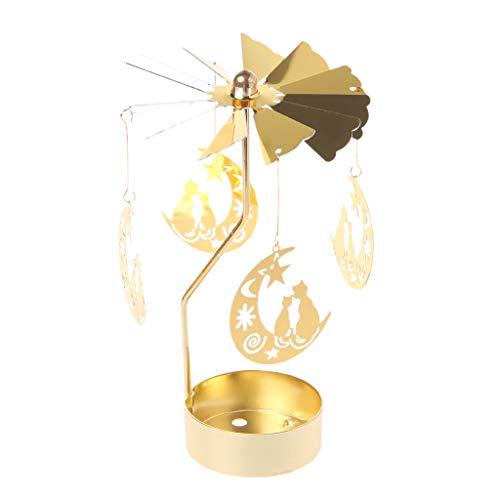 (Oranmay Spinning Rotary Carousel Tea Light Candle Holder Stand Light Gift Wedding Decor (Cat on The Moon))