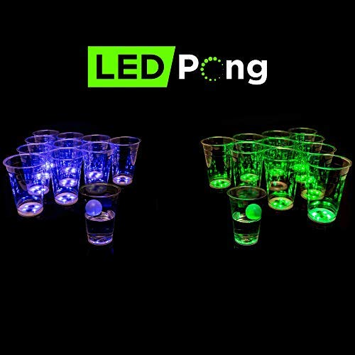 LED PONG Beer Pong Game Set Blue vs Green]()