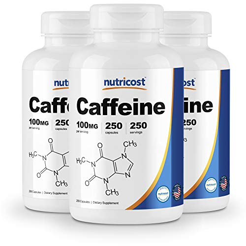 Nutricost Caffeine Pills 100mg Per Serving, 250 Capsules 3 Bottles