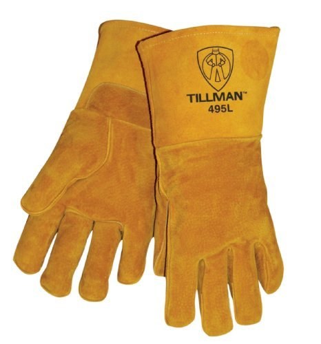 Pigskin Grain (Brown 14 Reverse Grain Pigskin Cotton/Foam Lined Welders Gloves With Welted Fingers And Para-aramid synthetic fiber? Stitching (Carded) by John Tillman and Co)