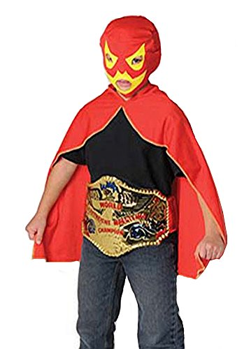Childrens Luchador Mexican Lucha Libre Red & Yellow Wrestling Mask & Cape (Vampire Cullen Costumes)