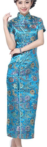 Chinese Dress (Blingland Ten Buttons Long Chinese Cheongsam Dresses Party Dresses for Women US 4 Asia)