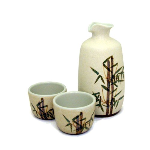 Handmade Fairtrade Stoneware Ceramic Sake Set of Sake Bottle and 2 Cups in Bamboo Design thebigmango.co.uk BT01
