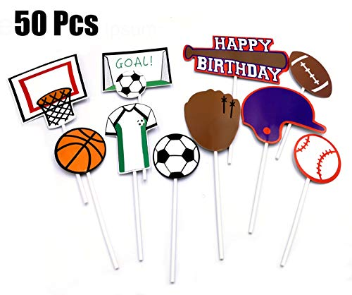 B-FUL 50 PCS Basketball Football Baseball Cake Cupcake Topper Decorations For Wedding,Baby Show,Kid Birthday Party