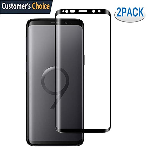 [2 Pack] Samsung Galaxy S9 Plus Screen Protector,S9 Plus Tempered Glass Screen Saver 3D Curved HD Ultra Clear 9H Hardness Full Coverage Screen Film[Anti-Scratch, Anti-Bubble](NOT for S9)