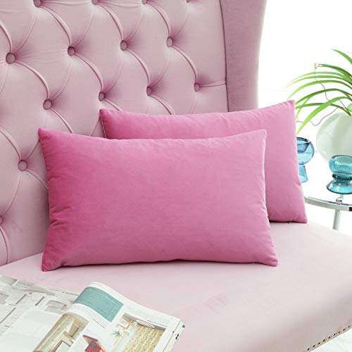 COMFORTLAND 4-Pack Decorative Throw Pillow Covers, Lumbar Soft Luxury Velvet Cushion Shams, 12x20 Solid Pillow Cases Set for Farmhouse Bedroom Living Room Outdoor Indoor Decoration, Hot Pink