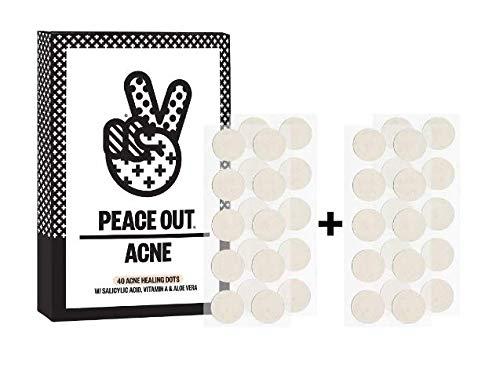 Peace Out Acne Dots - 40 Acne Healing Dots - W/Salicylic Acid, Vitamin A & Aloe Vera W/Bonus Facial Scrub