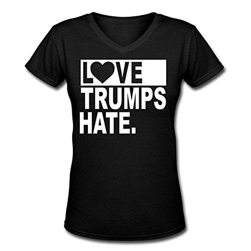 WOMEN Love Trumps Hate 2016 Vote Vneck (Rosie The Riveter Wig)