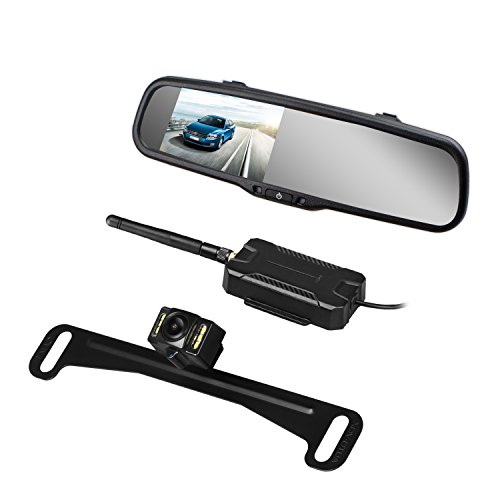 AUTO VOX Wireless Backup Camera Kit with HD Rearview Mirror Monitor and IP 68 Waterproof LED Super Night Vision License Plate Rear View Camera by AUTO-VOX