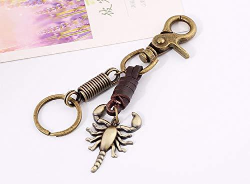 (1 Pack Antique Bronze Plated Retro Scorpion Steam Punk Leather Keyring DIY Pendant Teen Keys Hook Hooks Key Tag Zenith Popular Pocket Bag Car Keychains)
