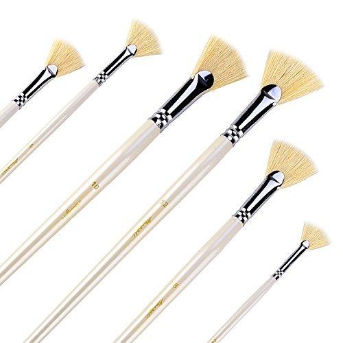 Fan Brushes - Amagic Artist Soft Anti-Shedding Hog Bristle Paint Brush Set for Acrylic Watercolour Oil Painting (6 Pcs)の商品画像