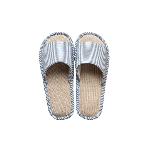 LYMMC House Slippers,Women's and Men's Cotton Causal Soft Slippers Anti-Slip for Indoor and Outdoor (Blue) by LYMMC (Image #1)