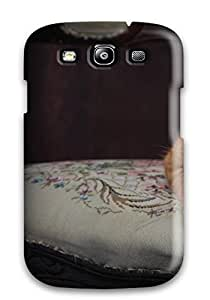 Awesome Cat In Victorian Chair Flip Case With Fashion Design For Galaxy S3
