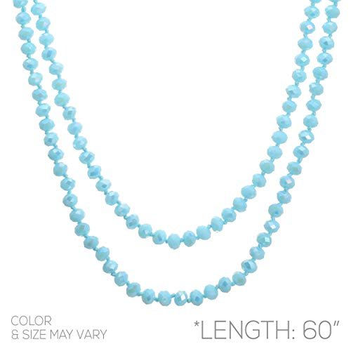 Rosemarie Collections Women's Faceted Glass Crystal Beaded Long Strand Necklace and Stretch Bracelet Set (Aqua)