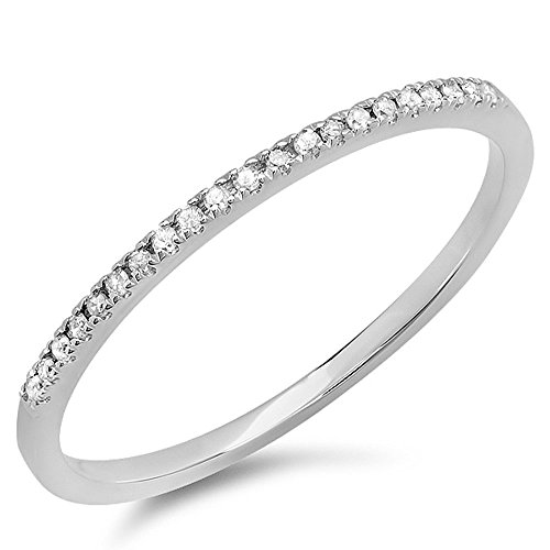 0.08 Carat (ctw) 10k White Gold Round White Diamond Ladies Dainty Anniversary Wedding Band Stackable Ring