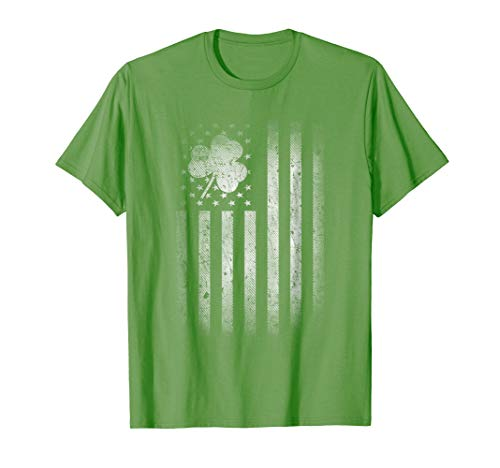 St Patricks Day Shirt - Vintage Irish American Shamrock Flag