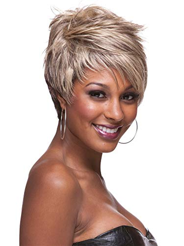 ATWIGS Afro Fluffy Short Natural Curly Hair Wigs Pixie Cut Haircut with Bangs African American Heat Resistant Fiber Replacement Wig 10