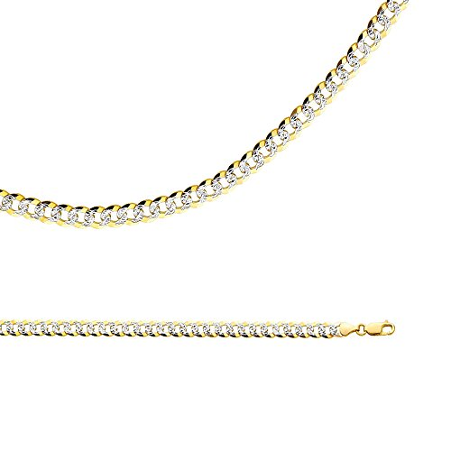14k Yellow & White Gold Chain Solid Cuban Necklace Pave Curb Link Two Tone Heavy Big 6.9 mm 26 inch - Gold Heavy Cuban Pave Chain
