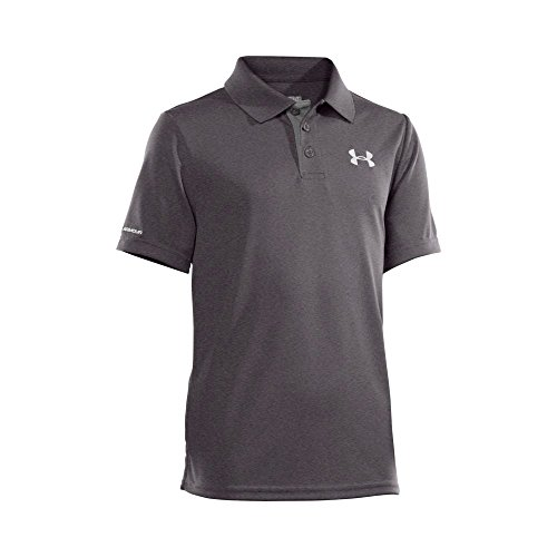 Carbon Match - Under Armour Boys' Match Play Polo, Carbon Heather/White, Youth Small