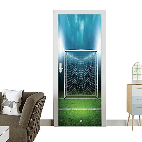 3D Photo Door Murals Soccer Goal Post Sports Area Winner Loser Line Floodlitst Team Finals Game Gym Easy to Clean and applyW38.5 x H79 INCH
