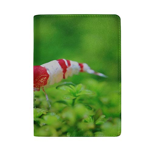 Crystal Red Shrimp Standing On Aquatic Moss Blocking Print Passport Holder Cover Case Travel Luggage Passport Wallet Card Holder Made With Leather For Men Women Kids Family