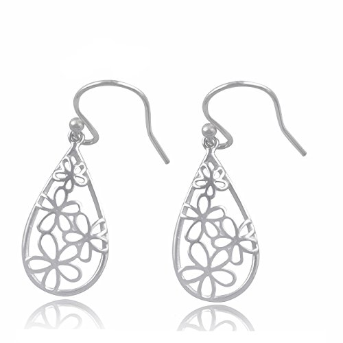 (Sterling Silver BoHo Daisy Flower Dangle Earrings)