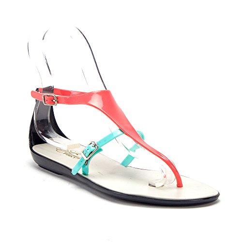 J'aime Aldo Women's Slip On T-Strap Jelly Summer Slides Sandals Shoes, Black, 5.5