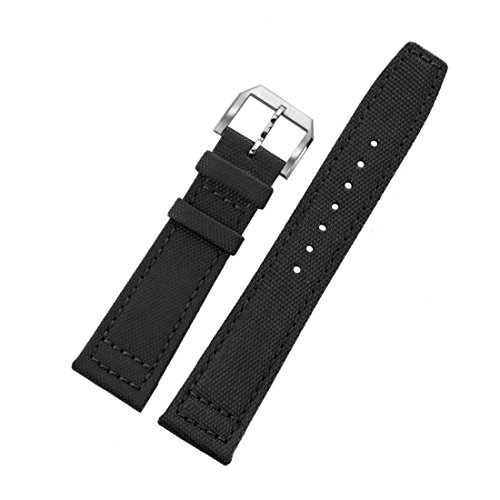 20mm Black Ballistic Nylon Watch Bands for Men's Luxury High-end Wrist Watches Aviator Nato Style (Dior Buckle)