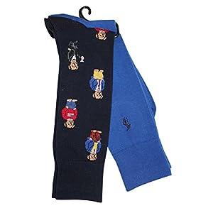Polo Ralph Lauren Men's 2-Pack Assorted Polo Bear Solid Dress Sock, Navy/Blue