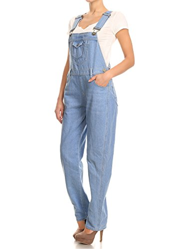 Blue Denim Jean Distressed Leg Bib Anna Pocket Denim Straight Overalls Light Womens Kaci xnqTtw1B