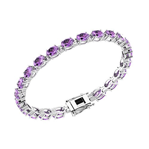 Solid Sterling Silver 6x4mm Oval Cut 7 CTW Natural Amethyst Brilliant Sparkle Tennis Bracelet for Women, Box Chain with Safety ()