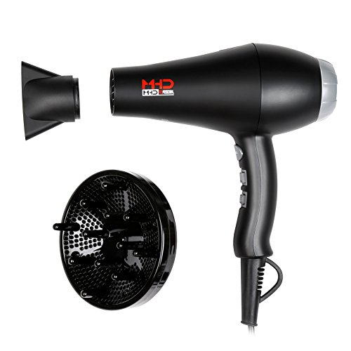 MHU Professional Salon Grade 1875w Low Noise Ionic Ceramic Ac Infrared Heat Hair Dryer Plus One Concentrator and One Diffuser Black Color by MHD