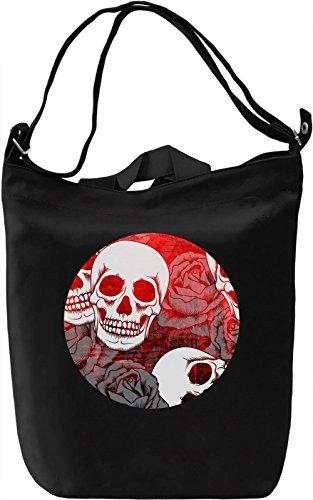 Skulls And Roses Borsa Giornaliera Canvas Canvas Day Bag| 100% Premium Cotton Canvas| DTG Printing|