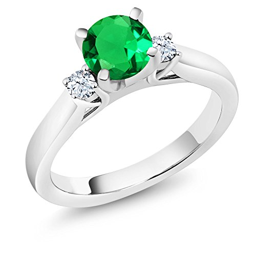 Green Natural Sapphire (1.03Ct Simulated Emerald White Created Sapphire 925 Sterling Silver 3-Stone Ring)