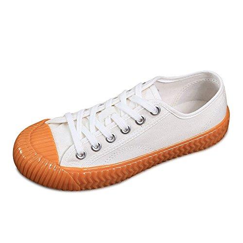 OCHENTA Baskets Mode Plat Fille Sneakers Basses Femme Chaussure De Sport Femme Mixte Adulte Blanc Jaune