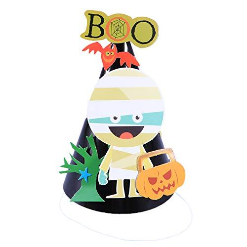 Kids Halloween Paper Hats DIY Cartoon Cap Material Children Halloween Ornaments Party Decoration (Mummy)]()