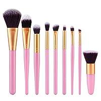 Bolayu 9Pcs Cosmetic Brush Sets Kits de pinceles de maquillaje Herramientas (Gold1)