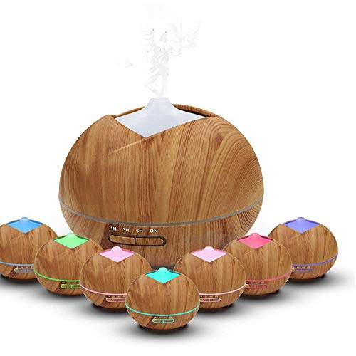 Essential Oil Diffuser Humidifiers 450ml Wood Grain Ultrasonic Cool Mist Whisper-Quiet With Color LED Lights Changing & 4 Timer Settings (Light - Diffuser Classroom