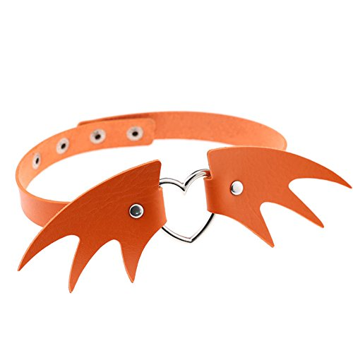 Eroute66 Halloween Punk Angel Wing Choker Faux Leather Heart Ring Collar Necklace Decor - Orange