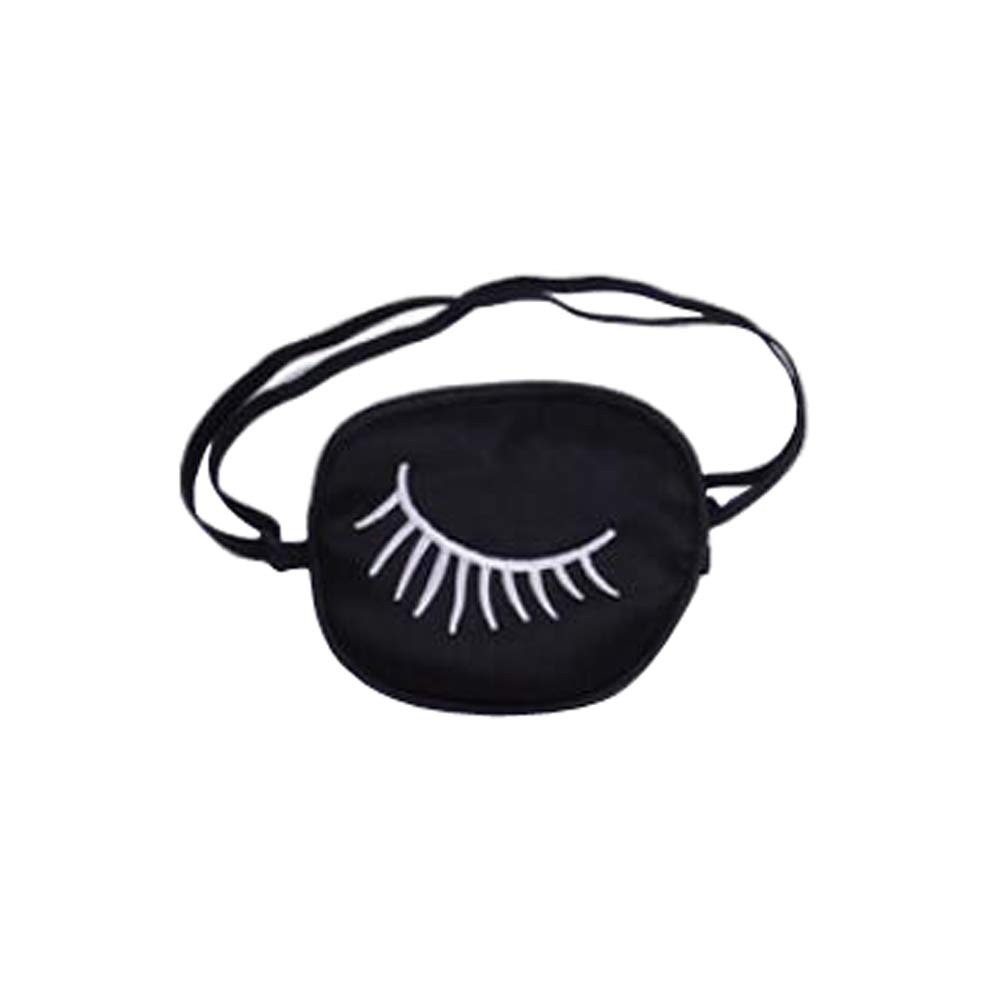 1PCS Black Silk Wadding Eye Piece Shading Adjustable One Eye Patch Strabismus Corrected Amblyopia Sponge Eye Paste Visual Recovery Cover Pads Blinders for Adults