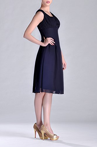 Special Blue Dress Bridesmaid Pleated the Length of Knee Mother Brides Formal Occasion Navy 4dAxzq7wd