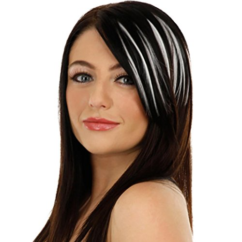 Iuhan Girls Silk Clip On Clip In Front Bang Fringe Hair Extension Piece Thin Wig (A, White) (50s Short Hairstyle)