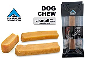 Healthy Dog Chew, 100% Natural, Pure Hardened Yak Cheese - 1 piece, Small, Min Net Wt. 3.5 oz, For Dogs Below 30 lbs - Himalayan Dog Delight