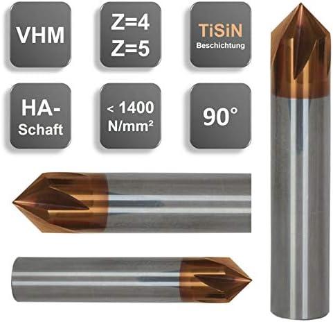 VHM Entgrater, Fasenfräser, 90°, Sonderbeschichtung, 3, 4, 5, 6, 8, 10, 12 mm, Größe: 10 x 63 - d2=10 mm - Z=4