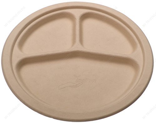 Factory Triple Tree - Tree Free Premium Quality Biodegradable Party Dinner Plates, 9-Inches, Triple Compartment, Bundle of 125 Plates